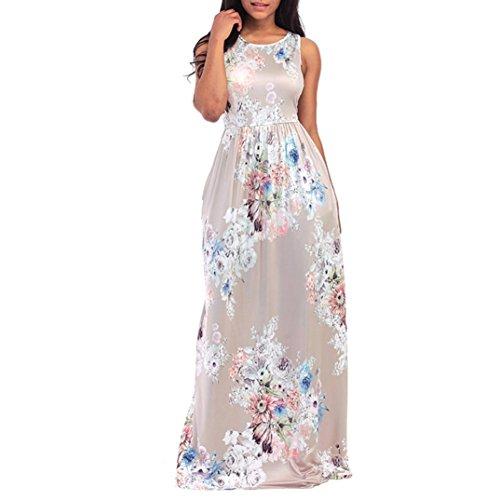 Damen Blumendruck Rundhals Ärmellos Lange Maxikleid Casual Strandkleid (Beige, S) (Irish Dress Kostüme)