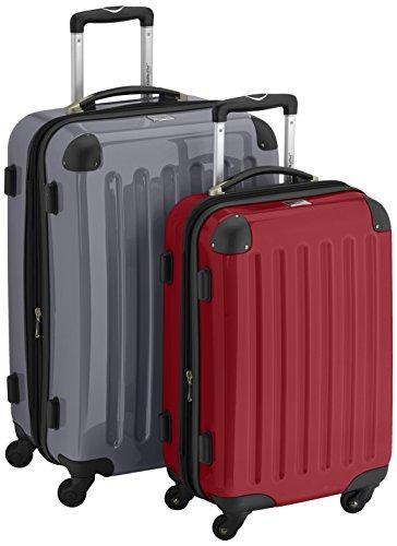 HAUPTSTADTKOFFER - Alex - 2er Koffer-Set Hartschale glänzend, 65 cm + 55 cm, 74 Liter + 42 Liter, Graphit-Blau Silber-Rot