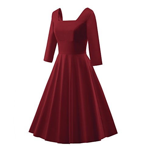 iLover 1950s Vintage 3/4 sleeves Squard Neck Robe de Cocktail Style Audrey Hepburn Rockabilly Robes de swing WineRed