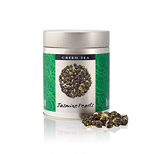 The Exotic Teapot - Jasmine Pearls, 75g Tin, Hand Rolled Jasmine Tea, Naturally Scented with Real Jasmine Blossoms