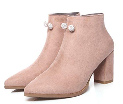 Aisun Femme Elégant Strass Chaussures de Neige Bottines Abricot