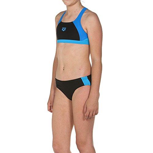 arena Mädchen Sport Bikini Ren (Schnelltrocknend, UV-Schutz UPF 50+, Chlor-/Salzwasserbeständig), Black-Pix Blue-Turquoise (508), 140
