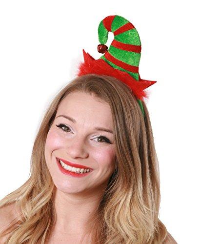 ILOVEFANCYDRESS Santa's Helfer Elf Hut an Einem Haarreif mit Plüsch und Einer Glocke