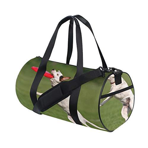 (Hund fangen fliegen scheibe benutzerdefinierte multi leichte große gymnastik totes handtasche reise leinwand seesack mit schulter crossbody fitness sport gepäck für jungen mädchen herren frauen)
