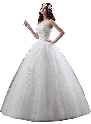 TOSKANA BRAUT Weiss Damen Spitze Stein Paillette Brautkleider Lang Hochzeitskleider Abendkleider Partykleider Neu Stil-F