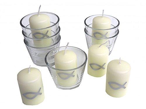 SET: 6x Votivglas 6x Kerzen Fisch Silber Kommunion Taufe Konfirmation Tischdeko Kerzendeko - 2