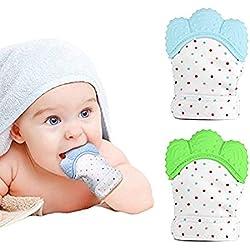 2 SET! Manopla de dentición de bebé para bebés Juguete de alivio de dolor de mordedor y dentición auto relajantes (AZUL + VERDE)