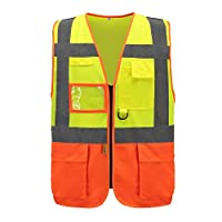 HiVis High Visibility Executive Work Safety Zip Vest Pocket waistcoat (M, Y&O)