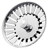 Stadux spina filtro per lavello da cucina in acciaio INOX, doppia funzione cestello e plug | Dimensioni per lavelli UK | strainer Plug