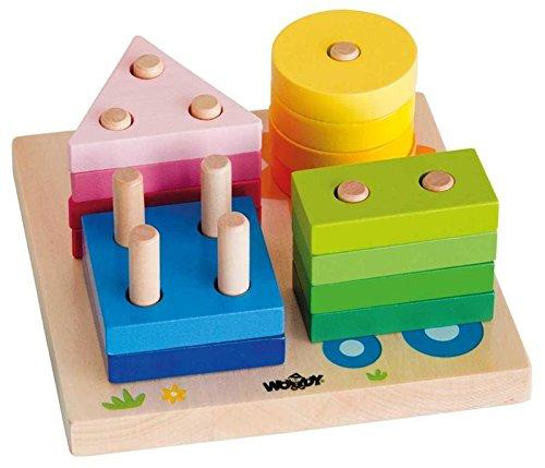 Woodyland 15 x 15 cm didáctico juguetes Casa y Sun clasificar y apilar de mesa (16 piezas)
