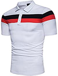 Vertvie Mens Polo T-Shirts Casual Stripe Classic Short Sleeve Top
