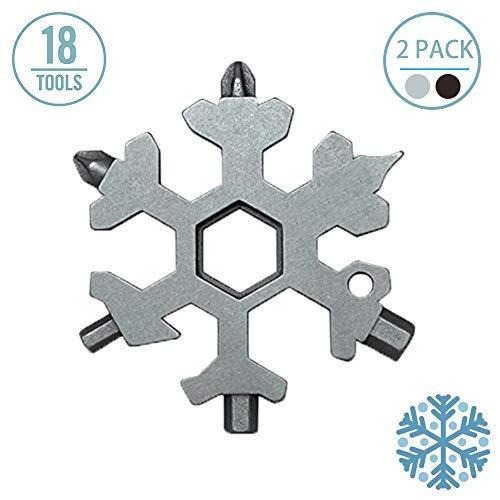 homelae Snowflake Multi-Tool 18 in 1 Unglaubliche tragbare Werkzeuge Easy N Genius Taschenschlüsselanhänger, Multitool Schraubendreher für die Befestigung von Fahrrad, Snowboard (2 Stück)