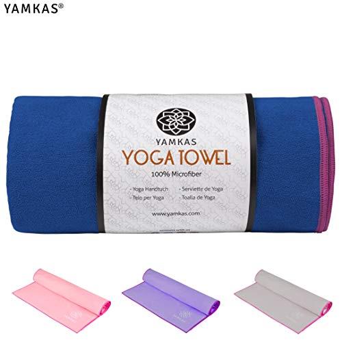 Yamkas Yoga Handtuch rutschfest | 183 x 61cm | Schnelltrocknend, Antirutsch | Yogatuch für Bikram, Ashtanga, Reise | Hot Yoga Towel Microfaser | Blau