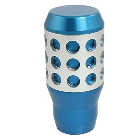 Water & Wood Manual Concave Circle Stick Shifter Gear Shift Knob Blue Silver Tone with Car Cleaning