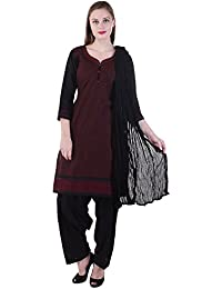 AAVAYA FASHION Black And Maroon Check Printed Cotton Patiala Suit (Stitched)