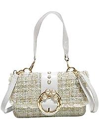 Longay - Bolso de hombro para mujer (lana), color perla
