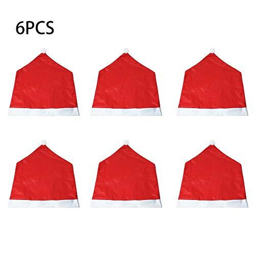 Erduo 6 Stücke Weihnachten Stuhlabdeckung Weihnachtsmann Kappe Stuhlgang Dinner Party Red Hat Stuhl Abdeckung Weihnachtsdekoration Hause Ornament - Red Dinner-stühle