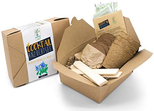 Satte Saat Cocktail Anzuchtset - das Pflanzset für den Cocktailgarten inkl. Töpfe, Erde, Marker, Samen und Anleitung - Anbauset Box als Geschenkset
