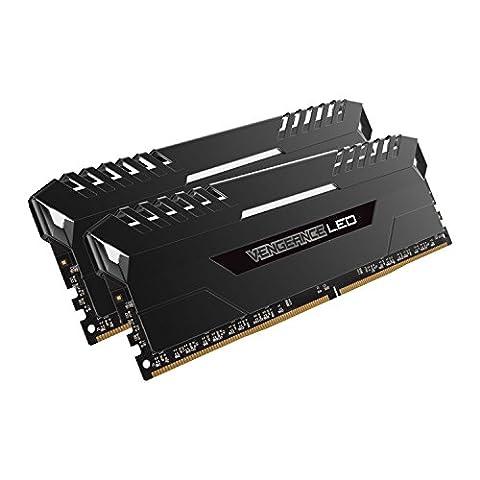 Corsair CMU16GX4M2A2666C16 Vengeance LED 16Go (2x8Go) DDR4 2666MHz C16 XMP 2.0 Kit de Mémorie Illuminé LED Enthousiaste - Noir avec Eclairage LED Blanc