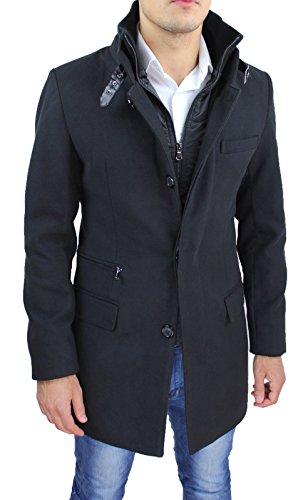Cappotto giaccone uomo nero sartoriale invernale slim fit soprabito elegante con gilet interno (xxl)