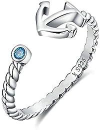 fe8e26cf052 HFE Ancre de Diamant Bleu européen et américain d ouverture 925 Bague en  Argent Bleu