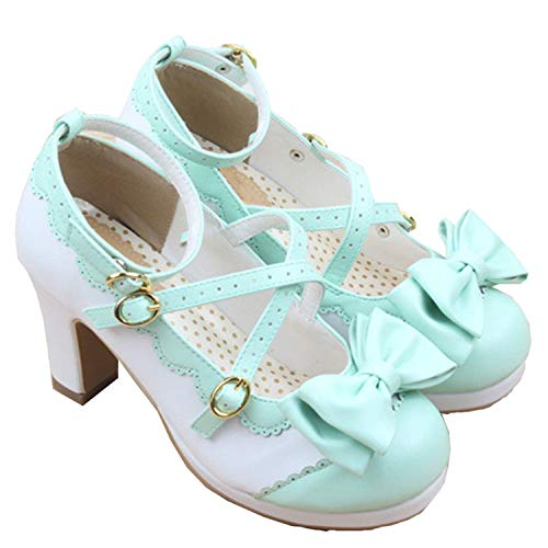 Hangpuzhend New Spring Lolita Girl Candy Color Comfortable Shoes Bowtie Cross Straps Waterproof High-Heel Cosplay Women Shoes Color 7