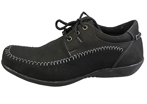 KOLLACHE Herren Casual Deck Loafer Smart Nubuk Leder Comfort Fahren Lace Up Schuhe New, Schwarz - Schwarz - Größe: 7 UK 41 EU (Nubuk-leder-loafer)