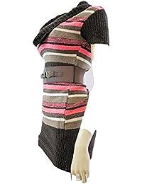JANE NORMAN Marron à rayures multicolores avec ceinture Pull tunique/robe Size's 8 à 14