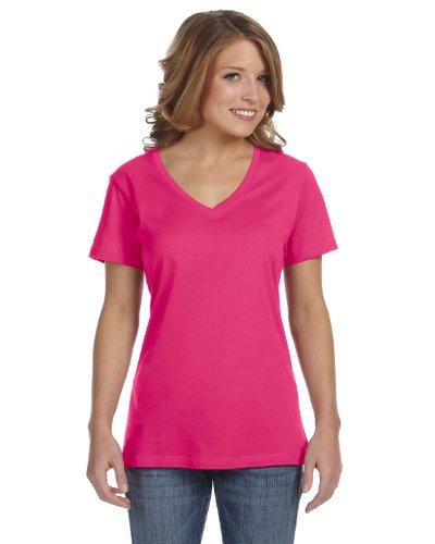 Anvil Damen T-Shirt mit V-Ausschnitt Hot Pink