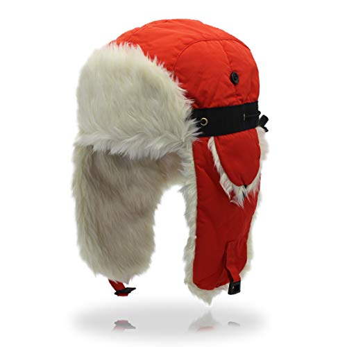Outfly Ushanka Trapper Russland Hut Faux Pelzmütze mit Earflap Winter,Orange