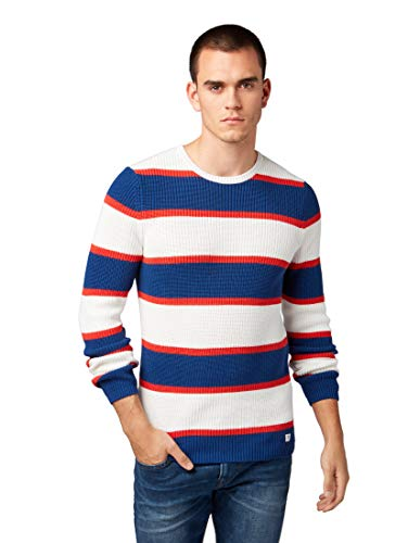 Gestreifter Strick-pullover (TOM TAILOR Denim Pullover & Strickjacken Gestreifter Pullover aral Big Stripe, L)