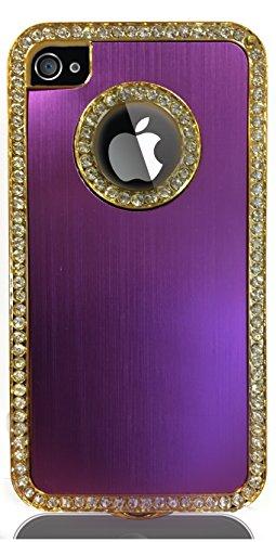 JAMMYLIZARD | Coque iPhone 4s - Coque iPhone 4 back cover ridige original papillons fleurs argenté, Blanc & argent Girly- VIOLET ET STRASS