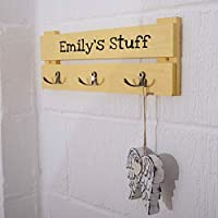 Kids Personalised Coat Rack - 3 Hooks - Colour Rustic Pine