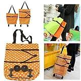 zusammenklappbar Einkaufen Tasche, faltbar tragbar Wheel Bag Tote Gepäck Tasche Schultertasche Cart Trolley Warenkorb Orange