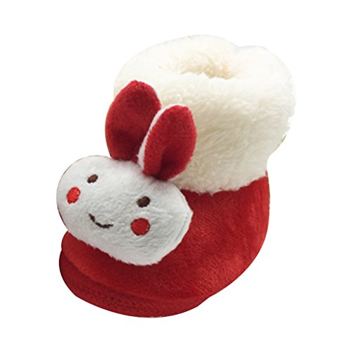 Zhuhaitf Excellent Lovely Infant Girls Soft Shoes Baby Winter Warm Plush Cotton Boot xsx010 red