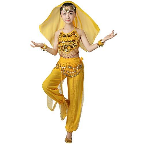 Magogo Mädchen Bauchtanz Performance Kostüm 6 Stück Kit, Shiny Party Fasching Karneval Outfit Kinder arabischen Prinzessin Indian Dance Kleidung Anzug (L, - Arabische Dance Kostüm Kinder