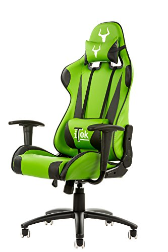 itek-gaming-chair-taurus-p2-pelle-sintetica-pu-doppio-cuscino-nero-verde