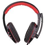 Morehappy7 USB-Gaming-Headset, Komfortabler Over-Ear-Kopfhörer mit Mikrofon, Leder, verkabelt,...
