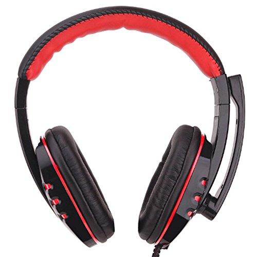 Morehappy7 USB-Gaming-Headset, Komfortabler Over-Ear-Kopfhörer mit Mikrofon, Leder, verkabelt, Stereo-Headset für PS3, PS4, Spiele, Sony PC, Skype, Laptop (USB), schwarz/rot, 3,5 mm Skype Stereo