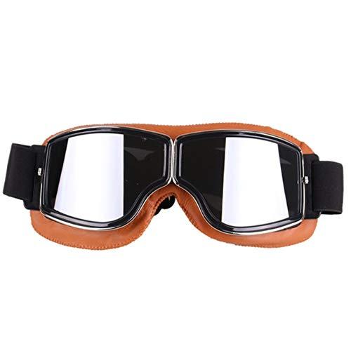 Blisfille Fahrradbrille Jungen Motorradbrille Cross Country Schutzbrillen Retro Windschutzscheibe Im Freien Reitet Yellow Frame-Silver Lens Damen Herren