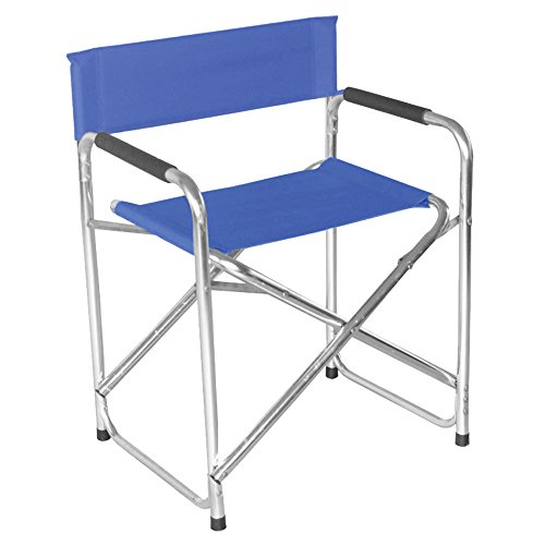 MCTECH® Regiestuhl klappbar Campingstuhl Angelstuhl faltbar mit Armlehne für Garten, Angeln, Camping (Regiestuhl, Blau)
