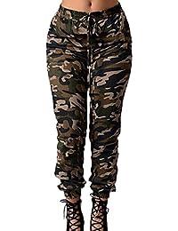 Zilcremo Damen Cargohosen Übergröße Camouflage Hose Elastischen Bund Militär  Armee Lange ... d3cc4fd4dc