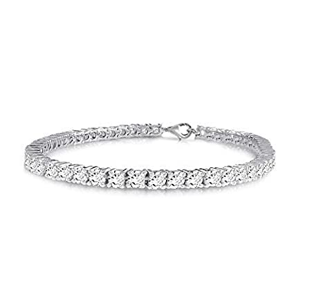 Velini, 925 sterling silver brilliant cut Round 3mm white CZ Cubic Zirconia stones 4 prongs Tennis bracelet, available in different length