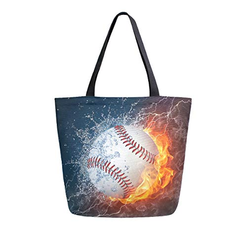Baseball in Fire und Water Canvas Tote Bag Large Shoulder Bag for Women and Girl Shopping Bags Wiederverwendbare Canvas Handtaschen