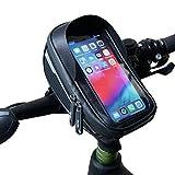 Velmia Fahrrad Lenkertasche [Wasserdicht] - Fahrrad Handyhalterung ideal fürs Navi - Fahrradtasche Lenker mit/ohne Fingerabdrucksensor-Unterstützung für simples Entsperren während der Fahrt
