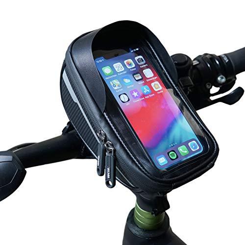 Velmia Fahrrad Lenkertasche [Wasserdicht] - Fahrrad Handyhalterung ideal fürs Navi - Fahrradtasche Lenker mit/ohne Fingerabdrucksensor-Unterstützung für simples Entsperren während der Fahrt -