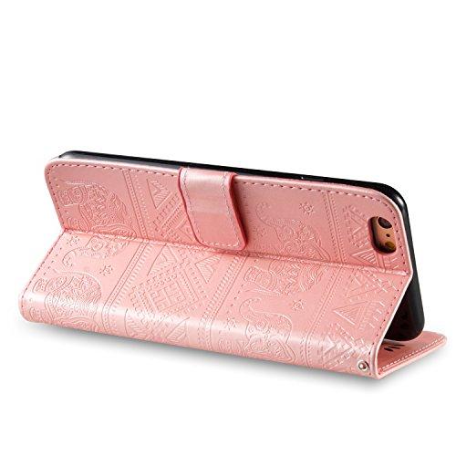 JIALUN-Telefon Fall Für Apple IPhone 7 Plus Premium Leder Schutzhülle, mit Kartensteckplatz, Lanyard, Druck Schöne Muster Mode Open Handy Shell ( Color : Blue ) Pink