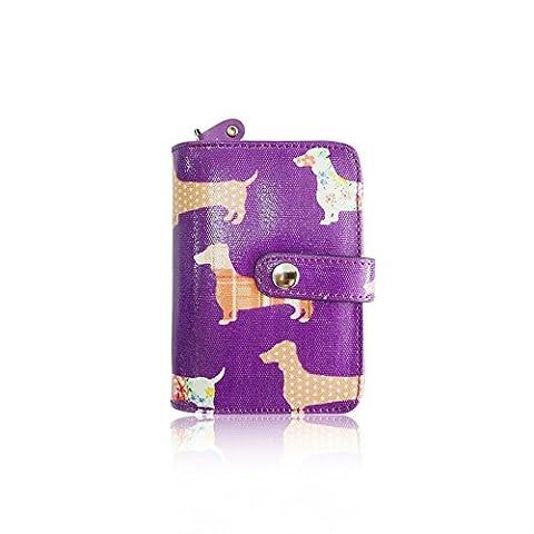 Mignon pour femme Motif teckel chien saucisse Huile Revêtement Toile Portefeuille - violet - Taille unique