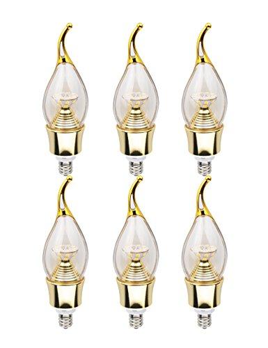 Lynknova lampadine a candela LED 5Watt C37E12base bianco caldo 2800K 400LM 360gradi equivalenti a 40W lampadina a incandescenza not-dimmable confezione da 2(oro 6)