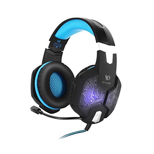 AutumnFall G1000 Gaming-Kopfhörer, 3,5 mm Spiel, mit Mikrofon, LED-Licht für Laptop, Tablet, Handys, iPad, PC, Laptop, Driver Diameter: 50mm, blau